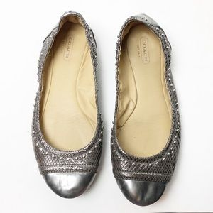 Coach Delia silver studded ballet flats